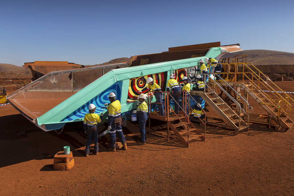 High School Students Paint Aboriginal Murals on Mining Haul Truck