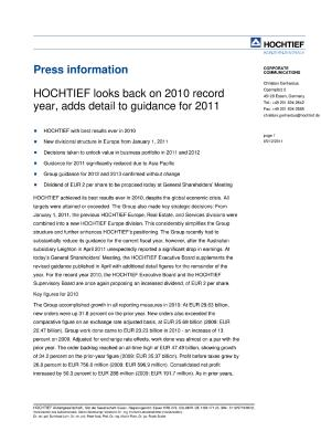 Download (PDF) -                          12.05.2011Press ReleasePress release: HOCHTIEF looks back on 2010 record year, adds detail to guidance for 2011                     - Dateigrösse : 0.14 MByte