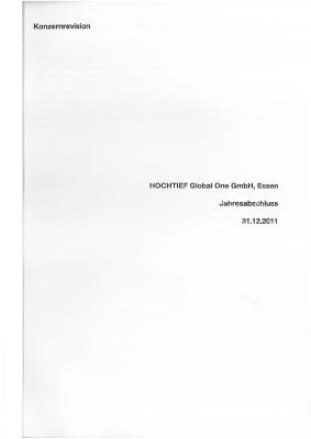 Download (PDF) -                          2012Annual financial statements and Management Report of HOCHTIEF Global One GmbH 2011 (German only)                     - Dateigrösse : 0.24 MByte