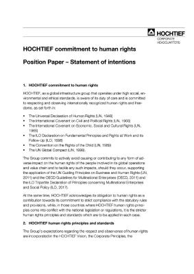 Position Paper: Approach to human rights at HOCHTIEF