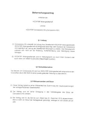 Download (PDF) -                          2010Control agreement of March 01, 2010 between HOCHTIEF Aktiengesellschaft and HOCHTIEF Concessions AG (German only)                     - Dateigrösse : 0.39 MByte