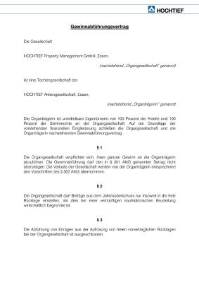 Download (PDF) -                          2008Profit and loss transfer agreement of June 19/July 19, 2007 between HOCHTIEF Aktiengesellschaft and HOCHTIEF Property Management GmbH (German only)                     - Dateigrösse : 0.02 MByte