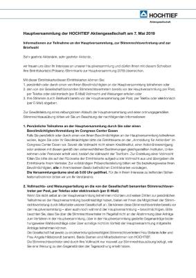 Download (PDF) -                          03.2019Information on attendance of the Annual General Meeting, on proxy voting rights and absentee voting (German only)                     - Dateigrösse : 0.06 MByte